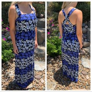 Maeve Anthro Blue Floral Maxi Dress